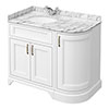 Chatsworth White RH 1005mm Curved Corner Vanity Unit with White Marble Basin Top profile small image view 1