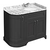 Chatsworth Graphite LH 1005mm Curved Corner Vanity Unit with White Marble Basin Top profile small image view 1
