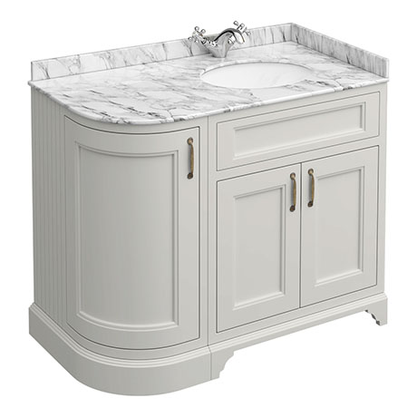 Chatsworth Grey LH 1005mm Curved Corner Vanity Unit with White Marble Basin Top