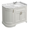 Chatsworth Grey LH 1005mm Curved Corner Vanity Unit with White Marble Basin Top profile small image view 1