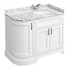 Chatsworth White LH 1005mm Curved Corner Vanity Unit with White Marble Basin Top profile small image view 1
