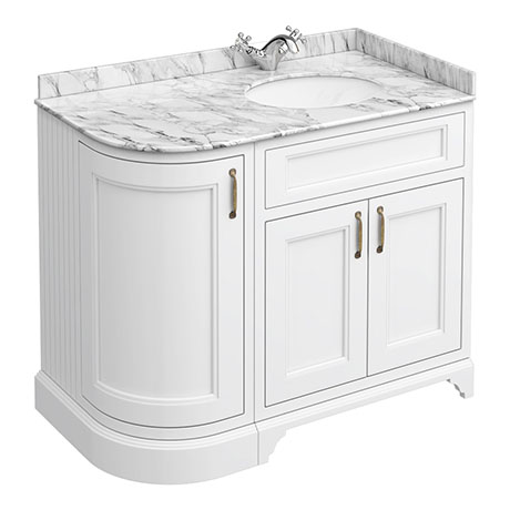 Chatsworth White LH 1005mm Curved Corner Vanity Unit with White Marble Basin Top
