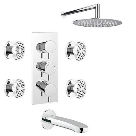 Cruze Modern Shower Package (Fixed Shower Head, 4 Body Jets + Bath Spout)