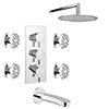 Cruze Modern Shower Package (Fixed Shower Head, 4 Body Jets + Bath Spout) profile small image view 1