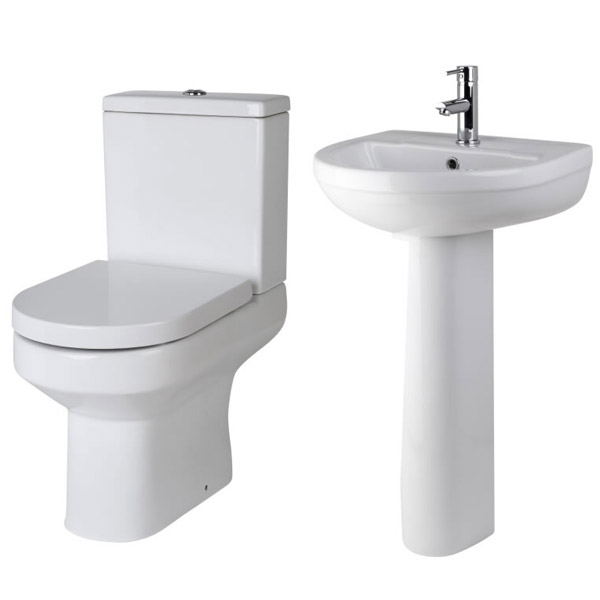 Premier Harmony 4 Piece Bathroom Suite - CC Toilet & 1TH Basin with Pedestal profile large image view 2