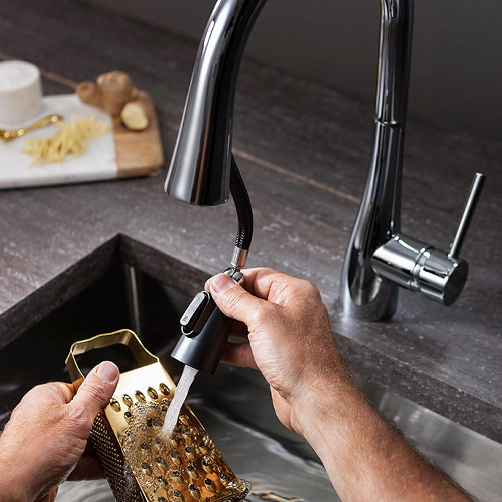 Crosswater Cook Side Lever Kitchen Mixer with Concealed Dual Function Spray - CO714DC  Feature Large Image
