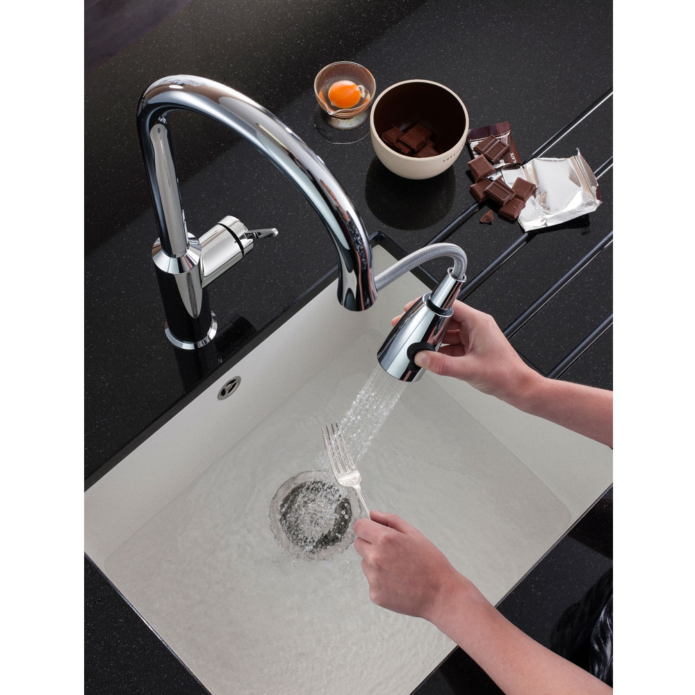 Crosswater - Cucina Cook Side Lever Kitchen Mixer with Pull Out Spray - Chrome - CO716DC Feature Large Image