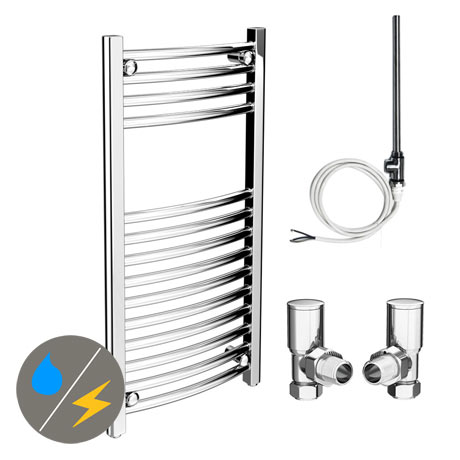 Diamond 400 x 800mm Curved Heated Towel Rail (Inc. Valves + Electric Heating Kit)