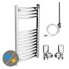 Diamond 400 x 800mm Curved Heated Towel Rail (Inc. Valves + Electric Heating Kit) profile small image view 1