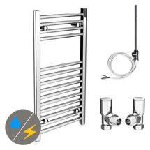 Diamond 400 x 800mm Straight Heated Towel Rail (Inc. Valves + Electric Heating Kit) Medium Image