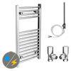 Diamond 400 x 800mm Straight Heated Towel Rail (inc. Valves + Electric Heating Kit) profile small image view 1