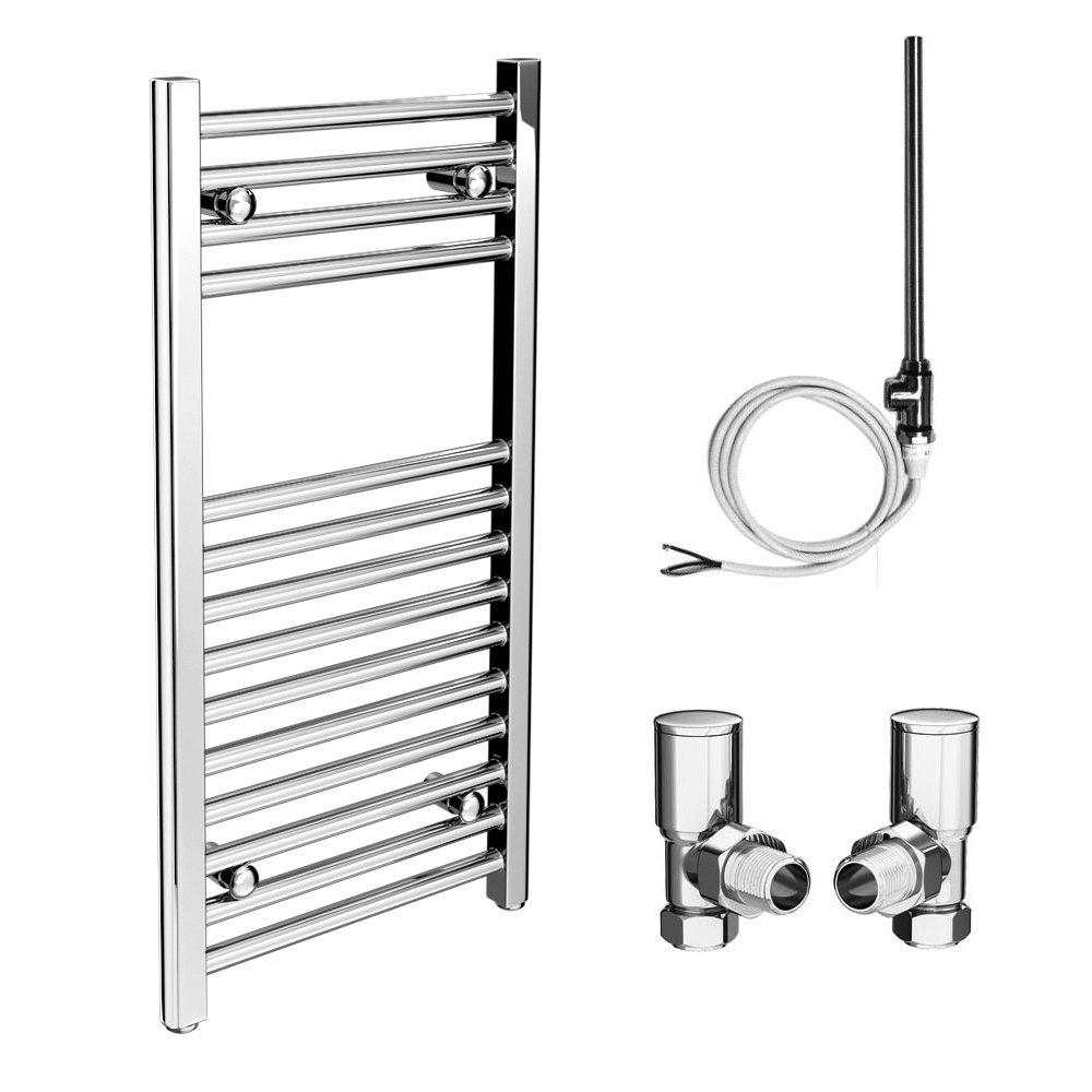Diamond 400 x 800mm Straight Heated Towel Rail (Inc. Valves + Electric Heating Kit)