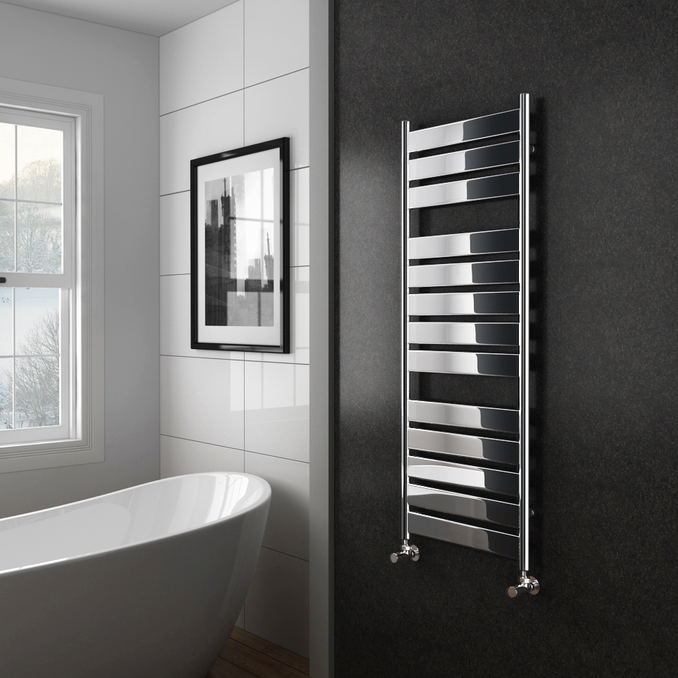 Diamond Designer Heated Towel Rail - 1306mm x 500mm - Chrome profile large image view 2
