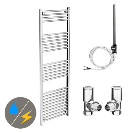 Diamond 500 x 1600mm Straight Heated Towel Rail (Inc. Valves + Electric Heating Kit)
