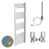 Diamond 500 x 1600mm Straight Heated Towel Rail (Inc. Valves + Electric Heating Kit) profile small image view 1