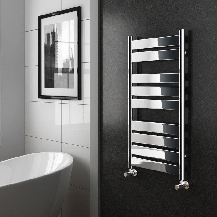 Diamond Designer Heated Towel Rail - 952mm x 500mm - Chrome Profile Large Image