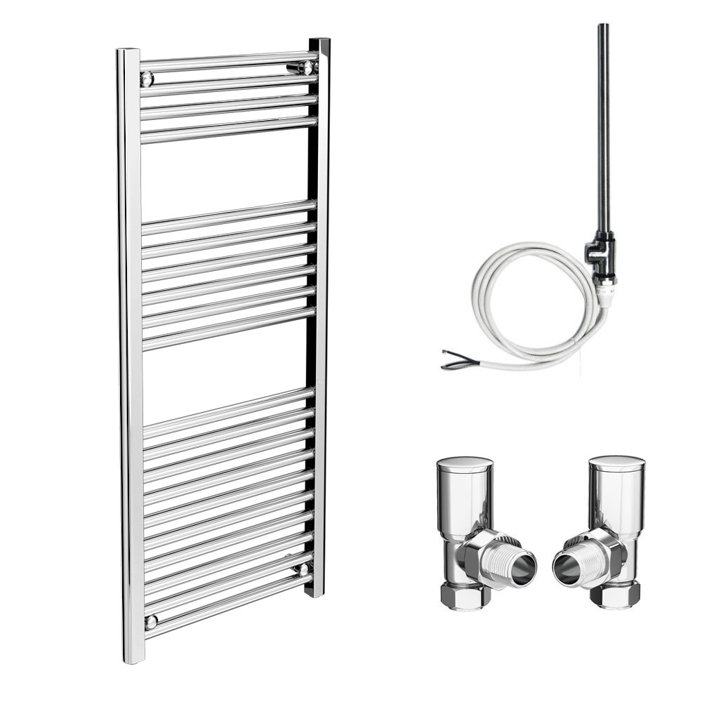 Diamond 500 x 1200mm Straight Heated Towel Rail (inc. Valves + Electric Heating Kit)