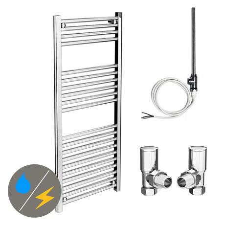 Diamond 500 x 1200mm Straight Heated Towel Rail (Inc. Valves + Electric Heating Kit)