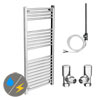 Diamond 500 x 1200mm Straight Heated Towel Rail (Inc. Valves + Electric Heating Kit) profile small image view 1