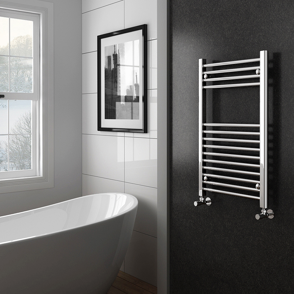 Diamond Heated Towel Rail - W500 x H800mm - Chrome - Straight profile large image view 2