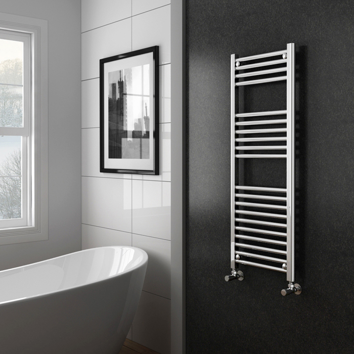 Diamond Heated Towel Rail - W400 x H1200mm - Chrome - Straight profile large image view 2