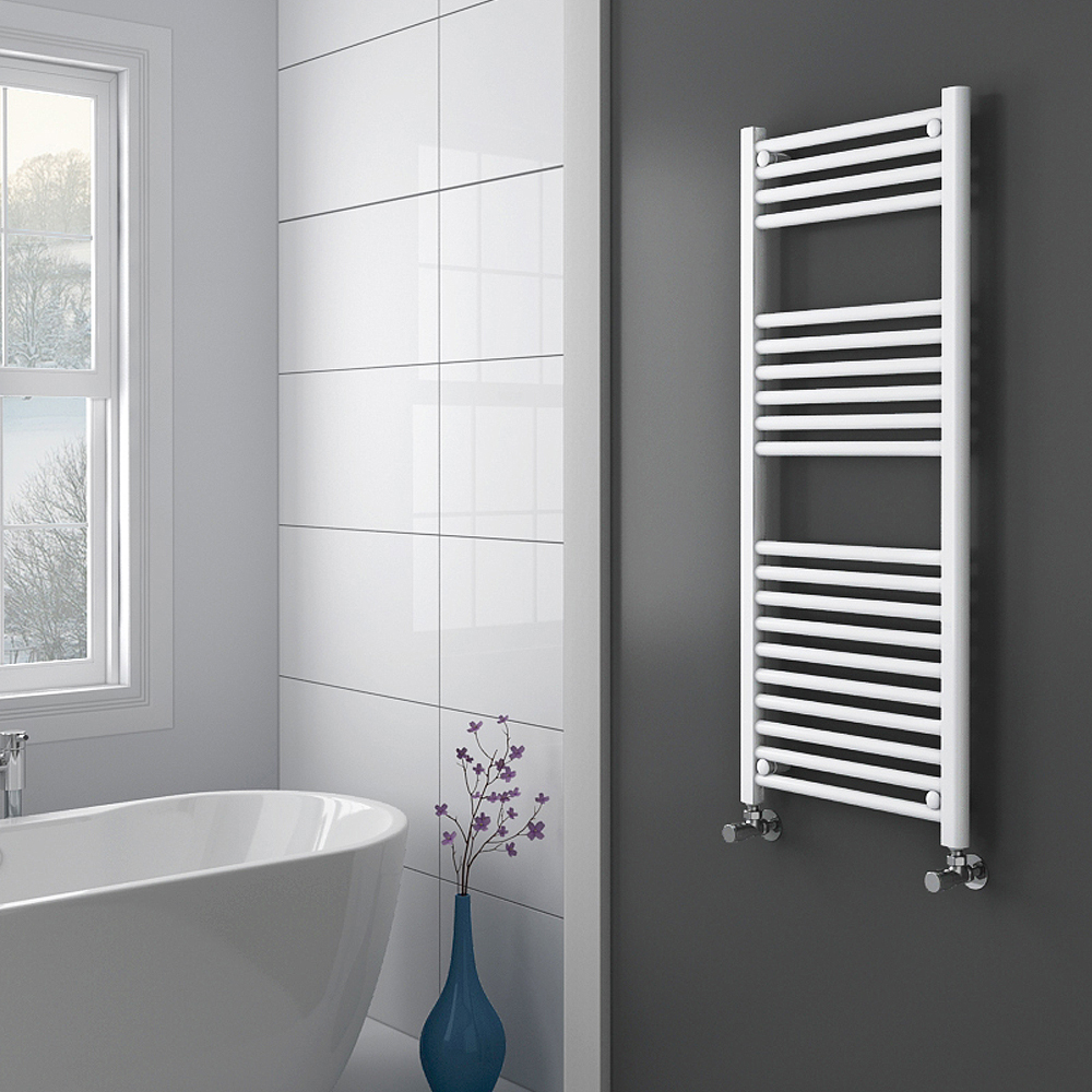Diamond Heated Towel Rail - W500 x H1200mm - White - Straight profile large image view 2