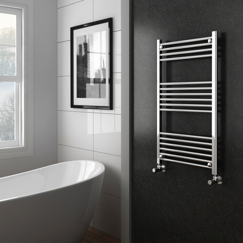 Diamond Heated Towel Rail - W600 x H1000mm - Chrome - Straight profile large image view 2