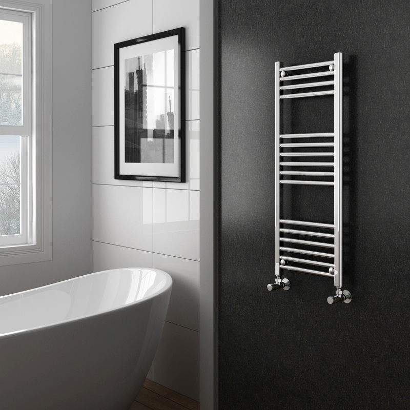 Diamond Heated Towel Rail - W400 x H1000mm - Chrome - Straight profile large image view 2