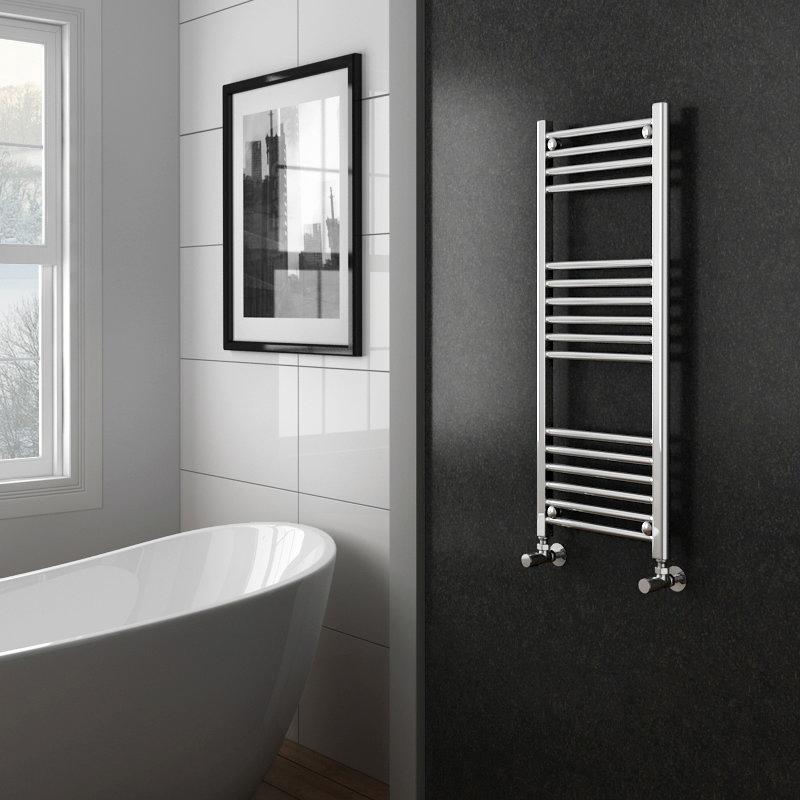 Diamond Heated Towel Rail - W400 x H1000mm - Chrome - Straight Profile Large Image