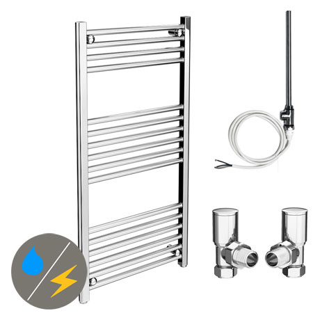 Diamond 500 x 1000mm Straight Heated Towel Rail (Inc. Valves + Electric Heating Kit)