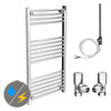 Diamond 500 x 1000mm Straight Heated Towel Rail (Inc. Valves + Electric Heating Kit) profile small image view 1