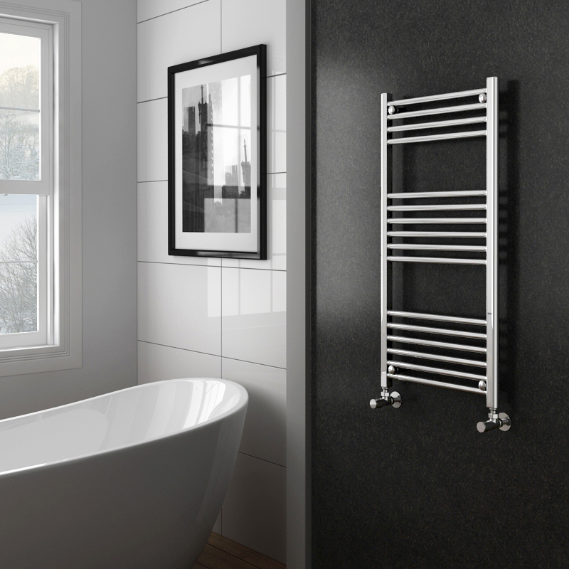 Diamond Heated Towel Rail Straight - Chrome