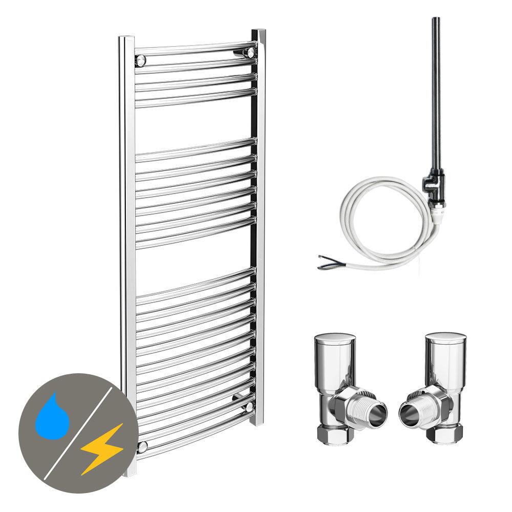 Diamond 500 x 1200mm Curved Heated Towel Rail (Inc. Valves + Electric Heating Kit)