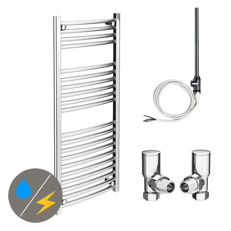 Diamond 500 x 1200mm Curved Heated Towel Rail (Inc. Valves + Electric Heating Kit)