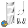 Diamond 500 x 1200mm Curved Heated Towel Rail (Inc. Valves + Electric Heating Kit) profile small image view 1