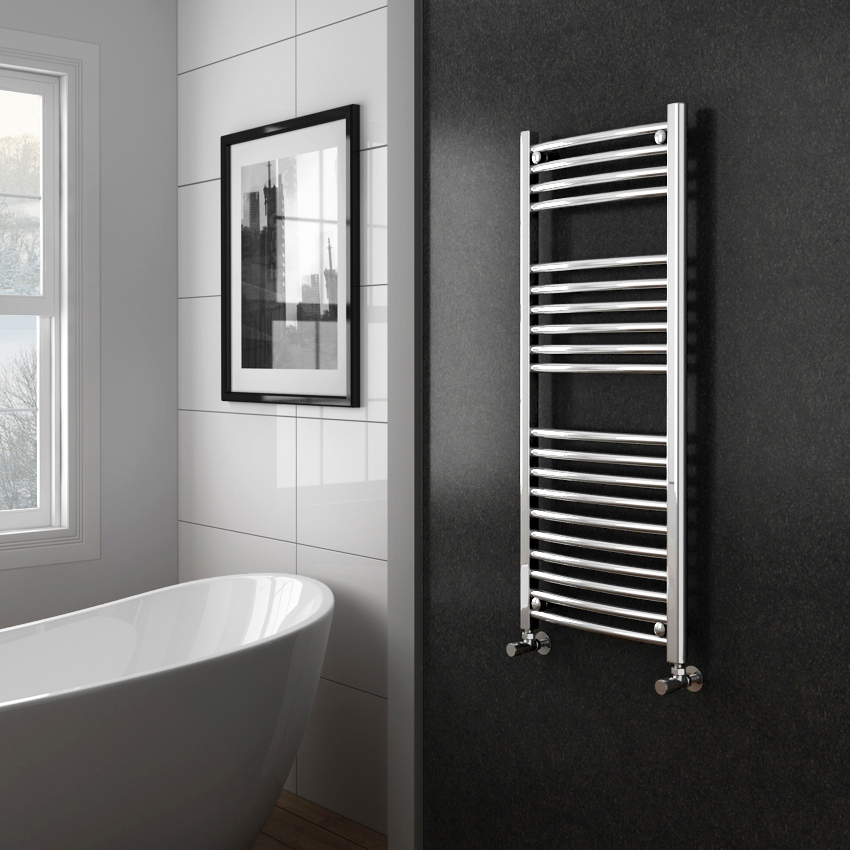 Diamond Curved Heated Towel Rail - W500 x H1200mm - Chrome profile large image view 2