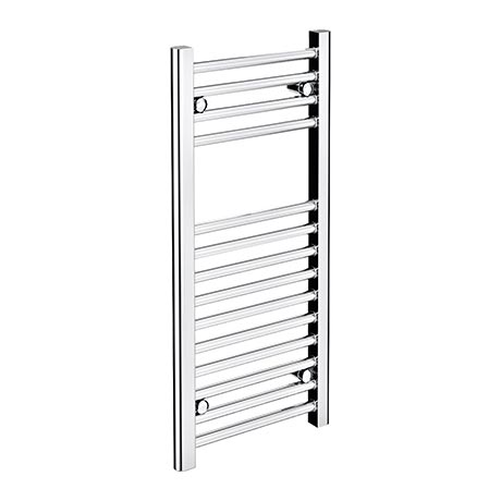 Diamond Heated Towel Rail - W300 x H800mm - Chrome - Straight
