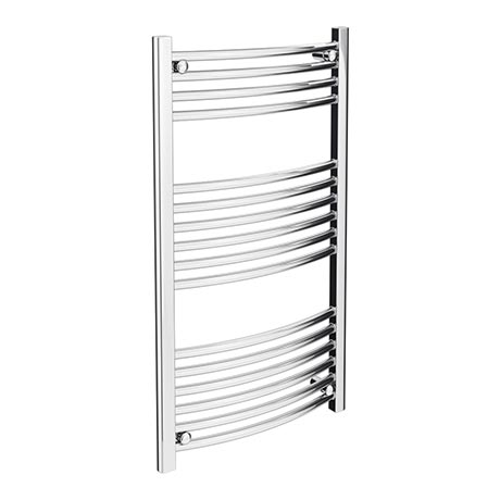Diamond Curved Heated Towel Rail - W600 x H1000mm - Chrome