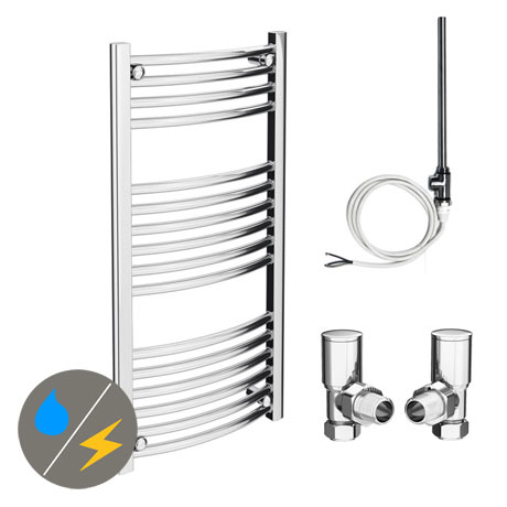 Diamond 500 x 1000mm Curved Heated Towel Rail (Inc. Valves + Electric Heating Kit)