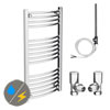 Diamond 500 x 1000mm Curved Heated Towel Rail (Inc. Valves + Electric Heating Kit) profile small image view 1