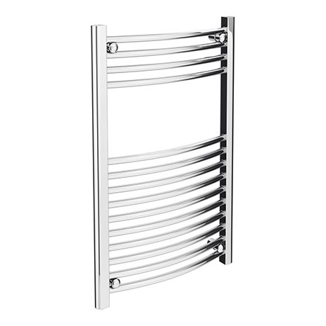 Diamond Curved Heated Towel Rail - W500 x H800mm - Chrome