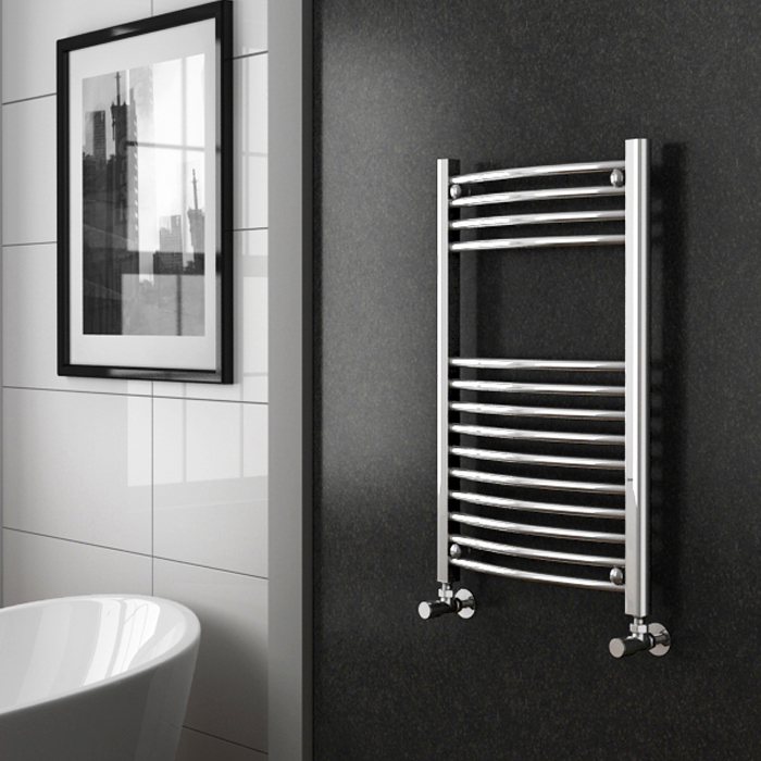Diamond Curved Heated Towel Rail - W500 x H800mm - Chrome profile large image view 2