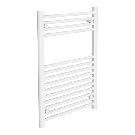 Diamond Heated Towel Rail - W500 x H800mm - White - Straight