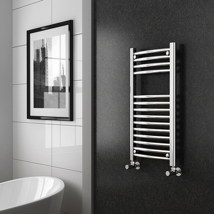 Diamond Curved Heated Towel Rail - W300 x H800mm - Chrome profile large image view 2