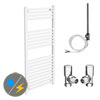 Diamond White 500 x 1200mm Straight Heated Towel Rail (Inc. Valves + Electric Heating Kit) profile small image view 1
