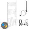 Diamond White 500 x 1200mm Straight Heated Towel Rail (inc. Valves + Electric Heating Kit) profile small image view 1