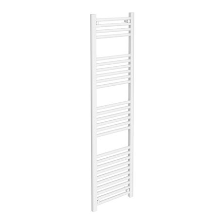Diamond Heated Towel Rail - W400 x H1600mm - White - Straight