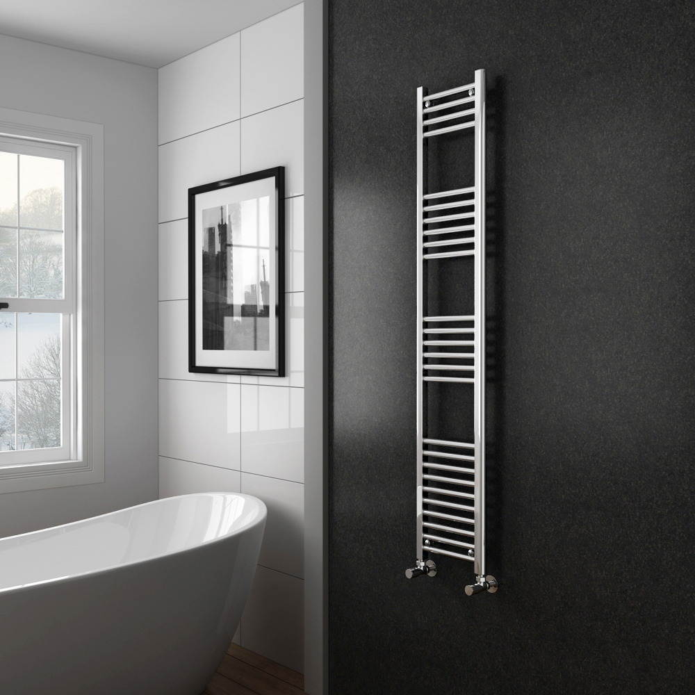 Diamond Heated Towel Rail - W300 x H1600mm - Chrome - Straight profile large image view 2