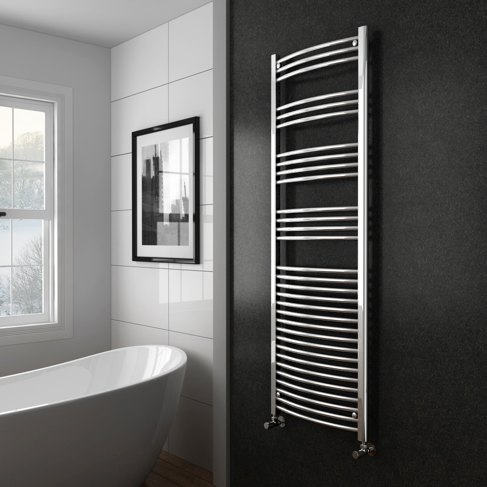 Diamond Curved Heated Towel Rail - W600 x H1800mm - Chrome profile large image view 2