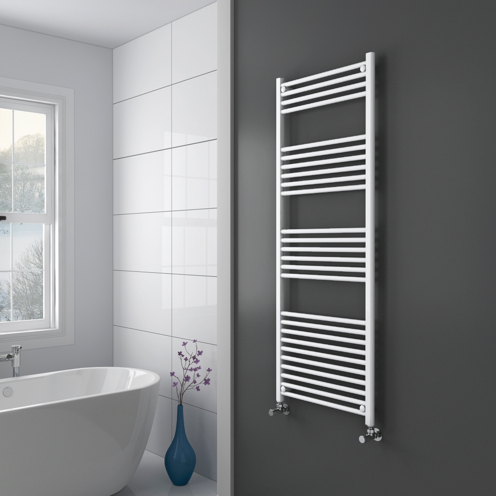 Diamond Heated Towel Rail - W600 x H1600mm - White - Straight Profile Large Image